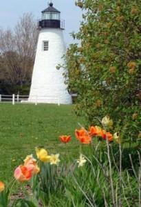Havre de Grace lighthouse in the spring